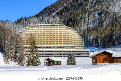 DAVOS, SWITZERLAND - JANUARY 16, 2019 : Wood Swiss chalets and luxury hotel for World Economic Forum gests in Davos, Switzerland.