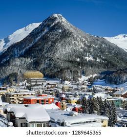 DAVOS, SWITZERLAND - JANUARY 16, 2019 : Panoramic view of Davos - the home of annual  World Economic Forum, Switzerland.
