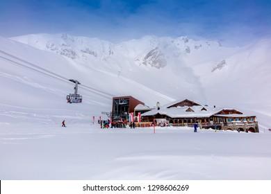 DAVOS, SWITZERLAND - JANUARY 16, 2019 :Landscape of  Davos ski area, Switzerland.