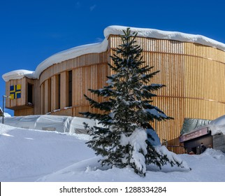 DAVOS, SWITZERLAND - JANUARY 17, 2019  : Entrance to Congress Center building for the annual  World Economic Forum in Davos, Switzerland.