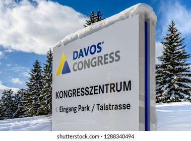DAVOS, SWITZERLAND - JANUARY 17, 2019  : Sign  to Congress Center building for the annual  World Economic Forum in Davos, Switzerland.