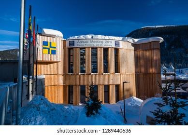 DAVOS, SWITZERLAND - JANUARY 19, 2019 : Congress building in Davos, Switzerland. World Economic Forum.