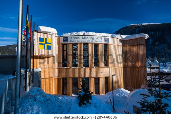 DAVOS, SWITZERLAND - JANUARY 19, 2019 : Congress building in Davos, Switzerland. World Economic Forum.
