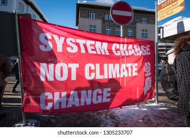 DAVOS, SWITZERLAND - JANUARY 24, 2019. Young people at the climate change protest during the World Economic Forum in Davos.