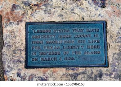 Davy Crockett Death Memorial Alamo Mission San Antonio Texas. Site 1836 battle between Texas patriots, such as  Crockett, killed by Mexican army.