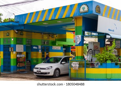 Dawei/Myanmar - October 02 2017 : The gas station in the middle of Dawei city, Myanmar.