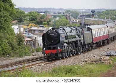 Dawlish Warren,June 14th 2015,Torbay Express Brittania 70000 passes through Dawlish Warren in Devon