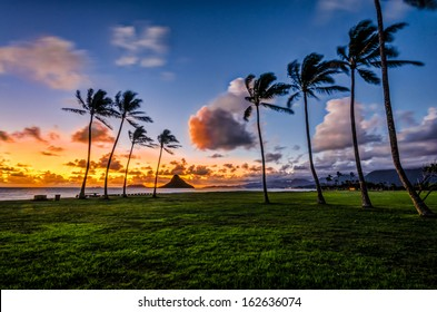 Dawn at Mokoli?i a.ka. Chinaman's Hat island in K?ne'ohe Bay, Hawaii from Kualoa Regional Park