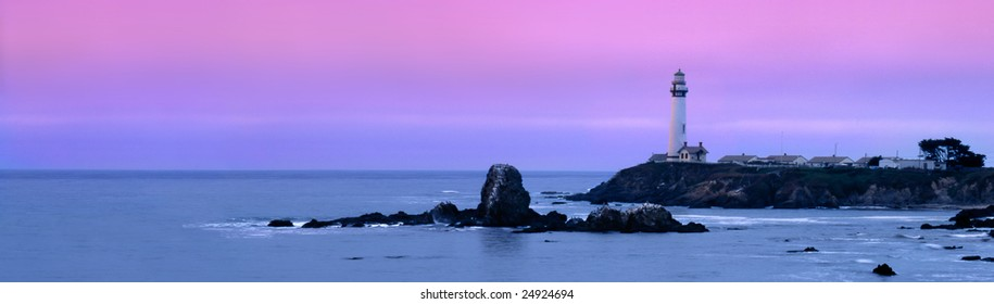 Dawn Begins Over The Pigeon Point Lighthouse, Central Coast, California