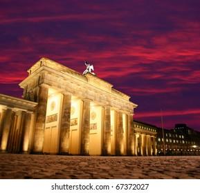 Dawn at Brandenburg Gate in Berlin, Germany