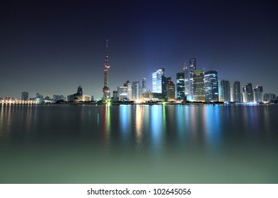 Dawn of the Bund in Shanghai the modern architecture city skyline