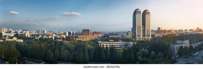 Dawn at the campus of Fudan University in Shanghai, China.