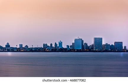Dawn in the city of Mumbai in India