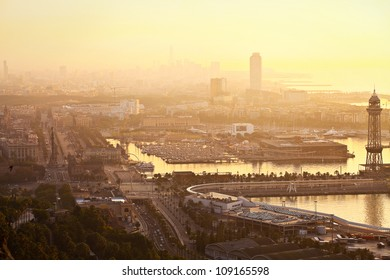 Dawn in the city's port (Barcelona, Spain, Europe)