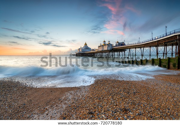 Dawn at Eastbourne Pier in  East Sussex on the south coast of England