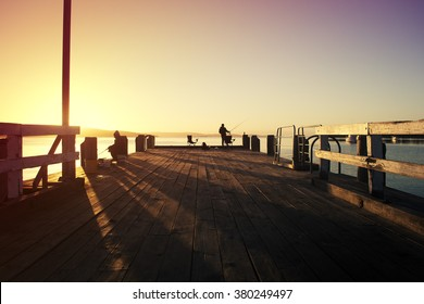 Dawn at the fishing jetty at Woodbridge, Tasmania, Australia