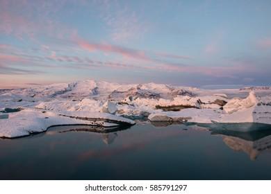 Dawn at Jökulsárlón Glacier Lagoon, Iceland