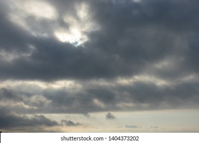 Dawn. Gloomy sky with thunder clouds