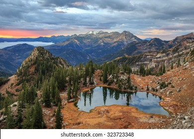 Dawn glow in the Wasatch Mountains, Utah, USA.