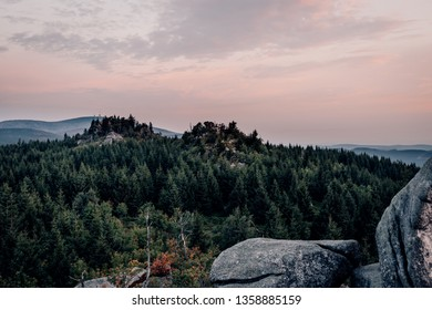 Dawn of the Harzer mountain landscape