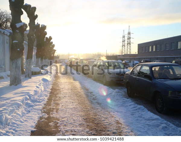 dawn in the industrial zone