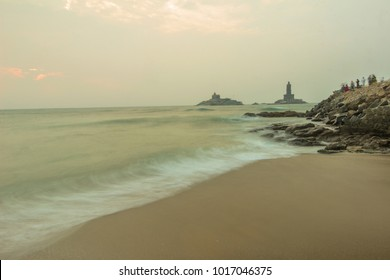 Dawn at Kanyakumari,INDIA. Everyday hordes of people flock to the seashore to witness the beautiful sunrise with the stunning backdrop of Vivekananda rock memorial and Thiruvalluvar Statue.