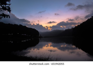 Dawn in the lagoon and purple sky