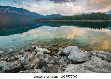 Dawn at lake Eibsee in the Alps of Bavaria