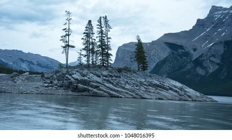 Dawn at Lake Minnewanka in Banff National Park in Alberta Canada
