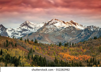 Dawn landscape with fall color in the Wasatch Mountains, Utah, USA.