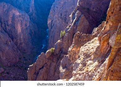 Dawn light illuminates the rocky cliffs and Gunnison River far below in Black Canyon of the Gunnison National Park in Colorado
