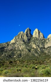Dawn light and the moon at Organ Mountains-Desert Peaks National Monument in New Mexico
