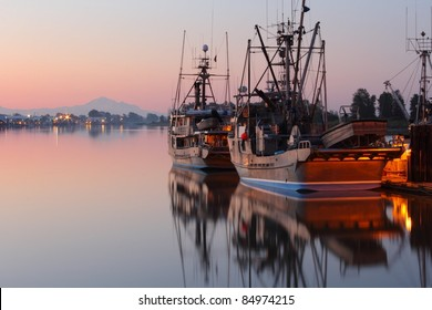 Dawn at the marina in Steveston Harbor, British Columbia, Canada where the commercial fishing fleet waits for the fishing season to open. Located at the mouth of the Fraser River near Vancouver.
