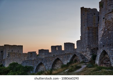 Dawn in medieval heritage at Visby Gotland Sweden. Visby city wall in morning light.