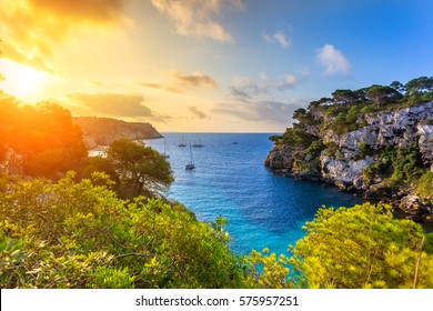 Dawn in the Mediterranean sea the island of Minorca