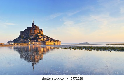Dawn at Mont Saint Michel. France. Panorama