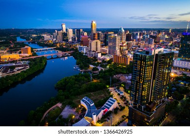 Dawn nightscape at sunrise aerial drone view above cityscape skyline of Austin , Texas , USA