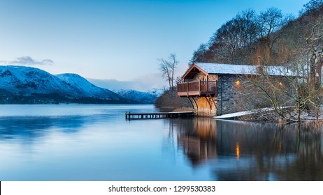 Dawn at the old boat house on Ullswater at Pooley Bridge in the Lake District National Park in Cumbria