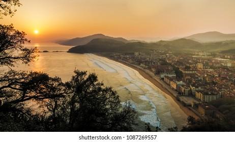 Dawn on the beach of Zarautz, Spain