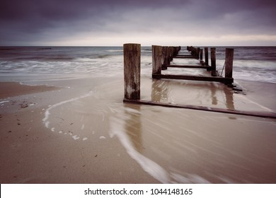 Dawn on the beach of Zingst at Darss Peninsula in Germany