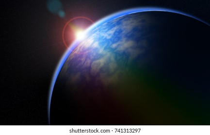 Dawn on the horizon in space on the planet.