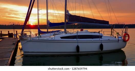 dawn on the lake in Masuria