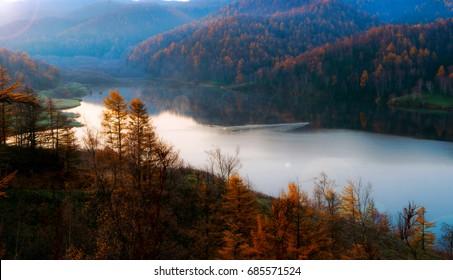 Dawn on a mountain lake. Sakhalin.