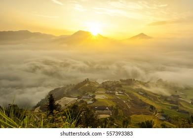 Dawn on Phung village, Hoang Su Phi district, Ha Giang province, Vietnam.