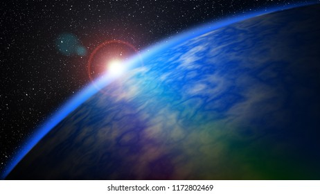 Dawn on a Planetary Horizon in Deep Space background