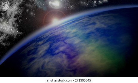 Dawn on a Planetary horizon in Deep Space