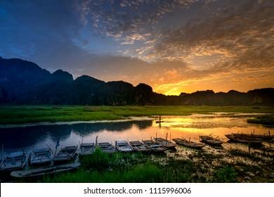Dawn on Van Long Wetland Nature Reserve in Ninh Binh province, Vietnam
