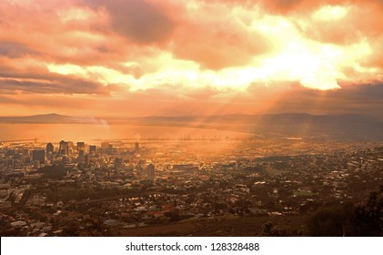 Dawn over the city of Cape Town, South Africa