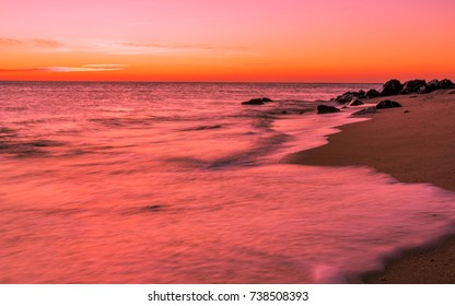 Dawn over the coastline and pinkish sky in Sandy Hook, New Jersey
