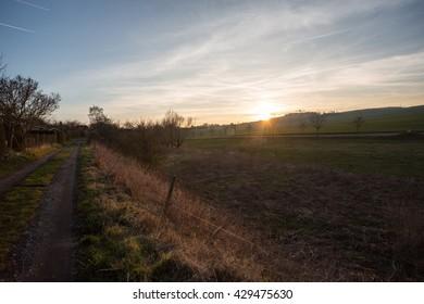 Dawn over fields in Leinefelde / Germany